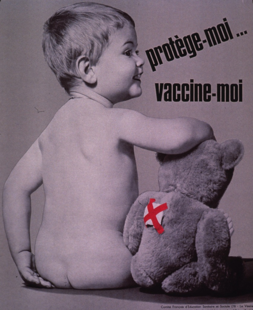 <p>Predominantly gray poster with black lettering.  Title in upper right corner.  Visual image is a b&amp;w photo reproduction featuring a toddler and his teddy bear.  Both have their backs to the viewer but the baby's head is in profile.  The teddy bear has a bandage on its back.  Publisher and sponsor information in lower right corner.</p>