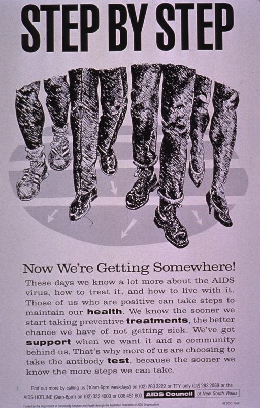 <p>Black and white poster showing four sets of legs and feet in the process of walking. The shoes range from high heels and men's dress shoes to sneakers and work shoes. The remainder of the text on the poster encourages HIV positive people to take advantage of preventive treatment, take steps to stay healthy, and to take the antibody test in order to stay active in fighting the disease.</p>