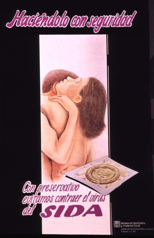 <p>Predominantly black poster with purple lettering.  Title at top of poster.  Visual image is an illustration of a naked male-female couple in an embrace.  An illustration of a packaged condom appears below the couple.  Caption text and publisher information at bottom of poster.</p>