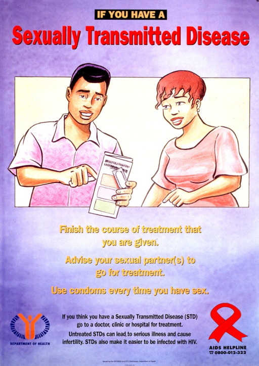 <p>Predominantly purple poster with multicolor lettering.  Title at top of poster.  Visual image is an illustration of a man and woman.  The man holds a brochure and a small package.  Note below illustration.  Publisher information, caption, and AIDS hotline number all at bottom of poster.</p>