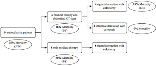 Surgical timing and mortality in subocclusive patients group.