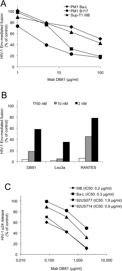 Inhibitory effect of MAb DB81 on HIV-1 Env-mediated fusion and infection.A. Effect of MAb DB81 on HIV-1 Env-mediated fusion. Chronically infected PM-1 cells were used as effector cells. NIH 3T3 cells expressing CD4 and the appropriate coreceptor were used as target cells. Fusion inhibition is expressed as percent of the fusion obtained with the untreated control (no antibody added). B. Comparison of the inhibitory potency of MAb DB81 with that of other HIV-1 inhibitors. Comparison of fusion inhibition by MAb DB81 with that obtained with equimolar amounts of another mAb to human CD4 (Leu3a) or the coreceptor inhibitor RANTES. PM-1 cells chronically infected with HIV-1 Ba-L were used as effectors. NIH 3T3 cells expressing the CCR5 coreceptor were used as targets. Results are expressed as percent of the fusion measured in the positive control (no inhibitors added). C. Effect of MAb DB81 on HIV-1 infection in primary human PBMC. PBMC from healthy blood donors were infected with the indicated HIV-1 strains in the presence or absence of MAb DB81. HIV-1 92US077 and 92US714 are two primary isolates derived directly from patient blood cells and minimally passaged ex vivo exclusively in primary cells. HIV-1 replication was measured after 4 days by p24 ELISA and expressed as percent of p24 measured in control untreated cultures. IC50 values were calculated using the PRISM software.