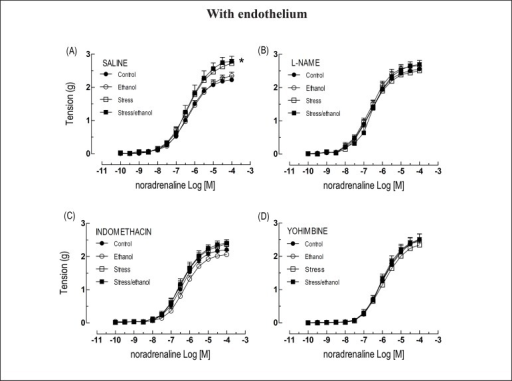 Concentration-response curves to noradrenaline obtained from intact thoracic aortarings taken from animals exposed to ethanol consumption and/or stress, in theabsence or presence of L-NAME (10-4 M), indomethacin (10-5M) or yohimbine (10-6 M). Values are expressed as means ± SEM.The number of independent determinations was 8-10. *Indicates a significantdifference (p < 0.05) in relation to the control animals.