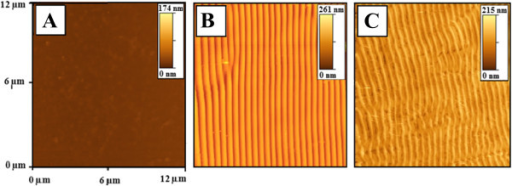 AFM images of the PMMA-FR films. (A) Pristine, (B) treated with laser (with 50 pulses and 12 mJ cm−2), and (C) soaked in methanol for 30 min.