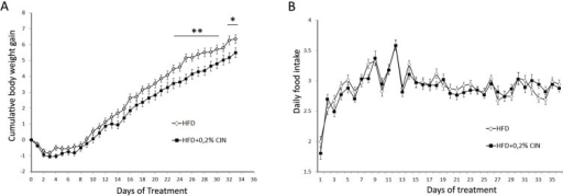Effect of chronic intake of 0.2% CIN included in the diet of obese mice on daily food intake and body weight gain.0.2% of CIN was included in the high fat diet of DIO mice for a period of 5 weeks and body weight gain and food intake was measured daily. We did not observe any effect on food intake, whereas a significant effect on cumulative body weight gain was observed from day 24. (*, p<0.05; n = 33; error bars: SEM).