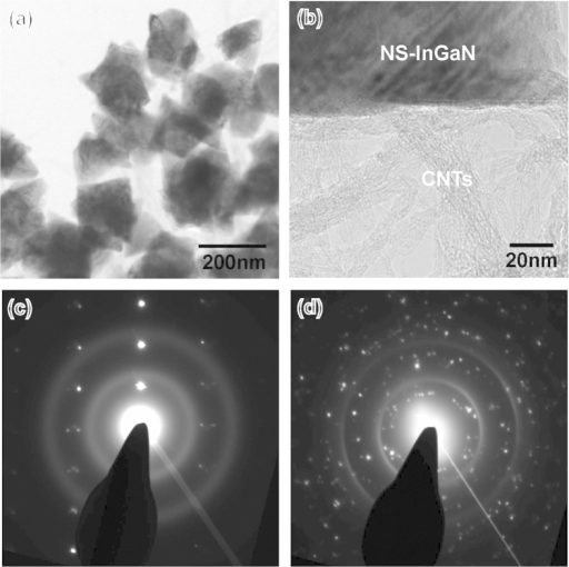 Crystallinity of InGaN NSs on CNT/Si template.(a) TEM images of CNT on Si substrate and (b) InGaN NSs. (c,d) TEM images of InGaN NSs on CNTs. The selected-area electron diffraction patterns (SADPs) of (e) multiple InGaN NSs and (f) one InGaN NS