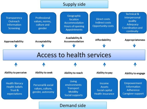 Adapted conceptual framework of access to health care.11