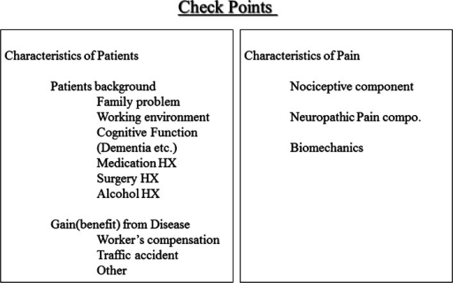 Important diagnostic check points to analyze chronic pain conditions. To make a therapeutic program for chronic pain patients, it is necessary to check both the characteristics of pain and pain simultaneously