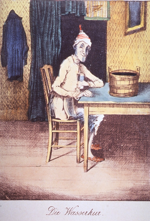 <p>Caricature on the water cure:  A man seated at a table on which sits a wooden bucket.</p>