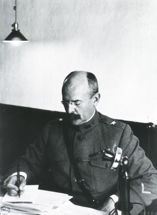 <p>Half-length, seated at desk; looking down, writing; wearing uniform (Brigadier General).</p>