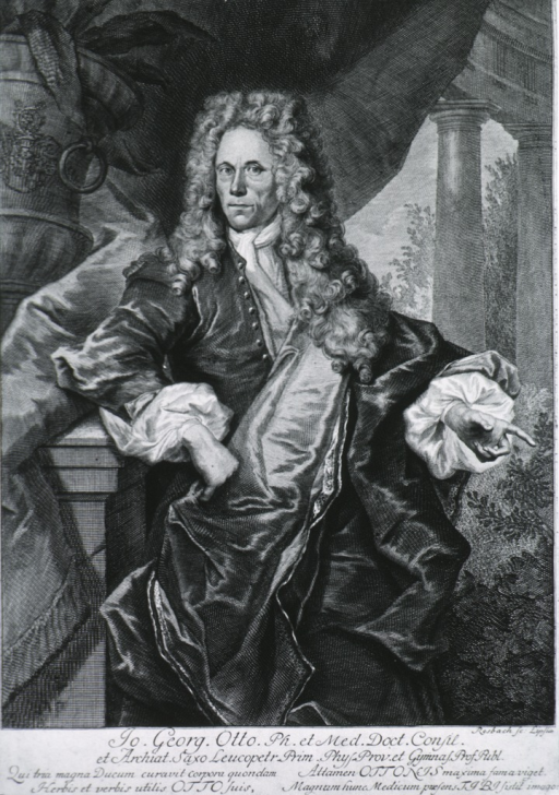 <p>Three quarter length, arm resting on pillar bearing coat-of-arms; curtain background, long curls and satin robe.</p>