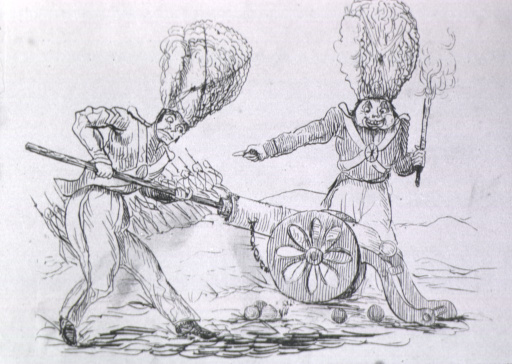 <p>Two men in uniform operate a cannon in a battlefield.</p>