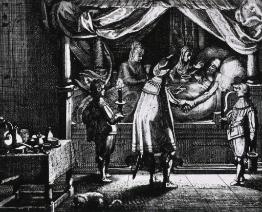 <p>Candlelit bedside scene: older male patient in bed is attended by concerned family members and physician.</p>