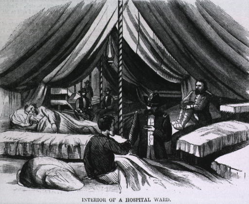 <p>Interior of a hospital ward [in tent hospital encampment near Petersburg, Va.] - a doctor takes one man's pulse.</p>