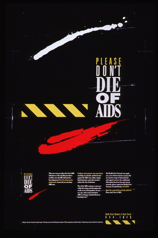 <p>Black poster with yellow and white lettering.  Title at center right of poster.  Visual images on poster are abstract geometric designs in white and red, and a yellow and black striped bar which is suggestive of a caution symbol.  Title repeated at lower left of poster in smaller font.  Caption appears to the right of the smaller title.  Bottom of poster features phone number for the Network.</p>