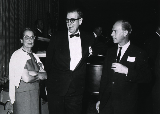 <p>Showing Dr. and Mrs. James Shannon and Dr. Colin McLeod at the awards ceremony of the John and Mary Marble Foundation Scholars, on September 30, 1966 at Whiteface Inn, Lake Placid, New York.</p>