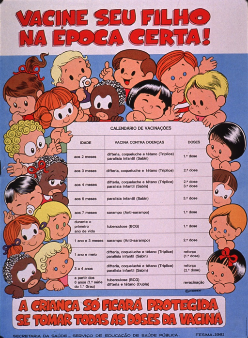 <p>Multicolor poster with red and black lettering.  Title at top of poster.  Visual image is a vaccination schedule surrounded by illustrations of children's faces.  Caption below image notes that for a child to be fully protected, it must receive all doses of the vaccine.</p>