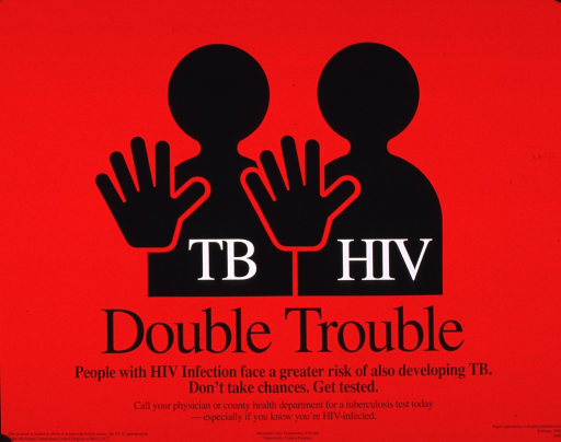 <p>Predominantly red poster with white and black lettering.  Visual image consists of silhouettes of two slightly abstract human figures, each with a hand raised as if to gesture &quot;stop&quot; or &quot;no.&quot;  Initial title text superimposed on figures, remaining title phrase below.  Caption below title.  Publisher information at bottom of poster.</p>