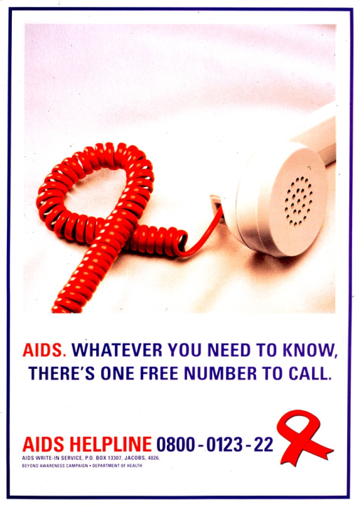 <p>Predominantly white poster with blue and red lettering.  Upper portion of poster features a color photo reproduction showing a phone receiver with a red cord.  The cord is arranged in a loop and looks like an AIDS-awareness red ribbon.  Title below photo.  AIDS hotline number below title.  Publisher information near bottom of poster.</p>