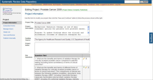 Partial view of the Project Information Section of a Systematic Review Data Repository data extraction form.