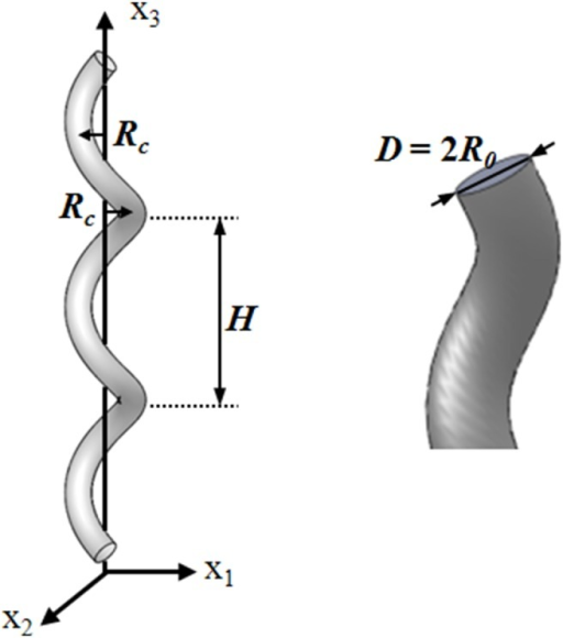 Geometrical parameters of a helical graft.