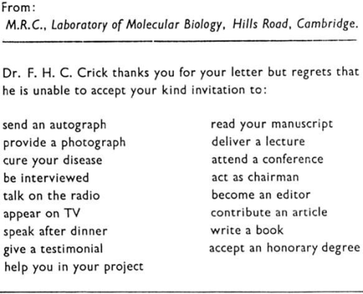Francis Crick reply card, used, on occasion, in the 1960s (PP/CRI/E/2/1).