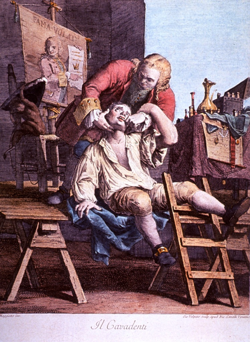 <p>On a platform in the market place, a charlatan (LeGrand Thomas?) extracts a man's tooth. A monkey sits on a stool on the platform playing with a hat.</p>