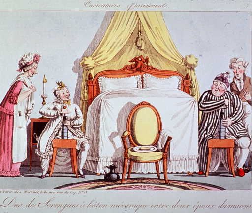 <p>Caricature:  A man and a woman sitting on benches on opposite sides of a bed are using clysters.  They are attended to by a male and a female servant.</p>