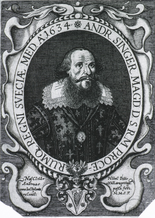 <p>Full face; in oval;  inscription around border; coat-of-arms.</p>