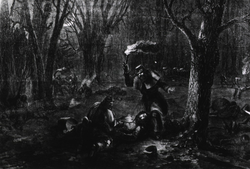 <p>Seeking for the wounded by torch-light, after the battle [Fort Donelson], Ky.  Night scene.</p>