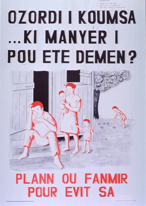 <p>White poster with black and red lettering.  Initial title words at top of poster.  Visual image is an illustration of a family.  The father sits on the stoop of the house, the mother holds an infant, a toddler with a bottle clings to the mother's dress, and a third child in the background gathers nuts or fruits that have fallen from a tree.  The entire family wears tattered clothing.  Remaining title words below illustration.  Publisher information in lower left corner.</p>