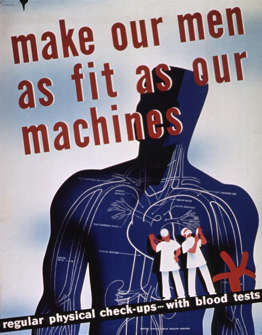 <p>An outline of a man's blood vessels with a tourniquet is around his left arm.  A figure dressed in white is listening to the man's heart, another preparing to draw blood has a syringe.  Note in lower right corner may indicate that the poster was part of a series addressing venereal disease.</p>