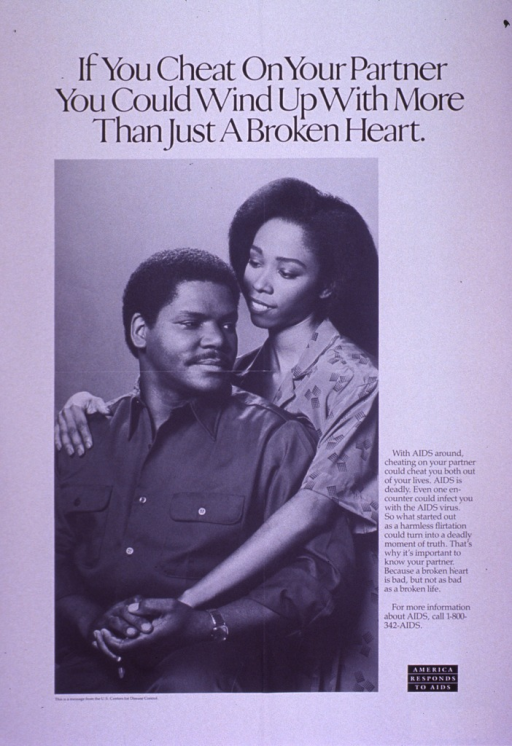 <p>Predominantly white poster with black lettering.  Title at top of poster.  Visual image is a b&amp;w photo reproduction featuring a male-female couple.  Caption to right of photo.  Note in lower right corner.  Publisher information below photo.</p>