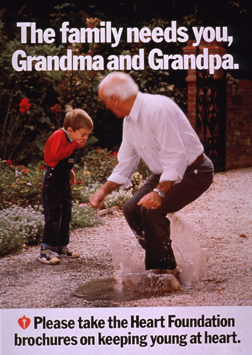 <p>Multicolor poster with white and black lettering.  Title at top of poster.  Visual image is a color photo reproduction featuring an older man jumping in a puddle.  A little boy stands in the background and giggles.  Caption below photo.</p>