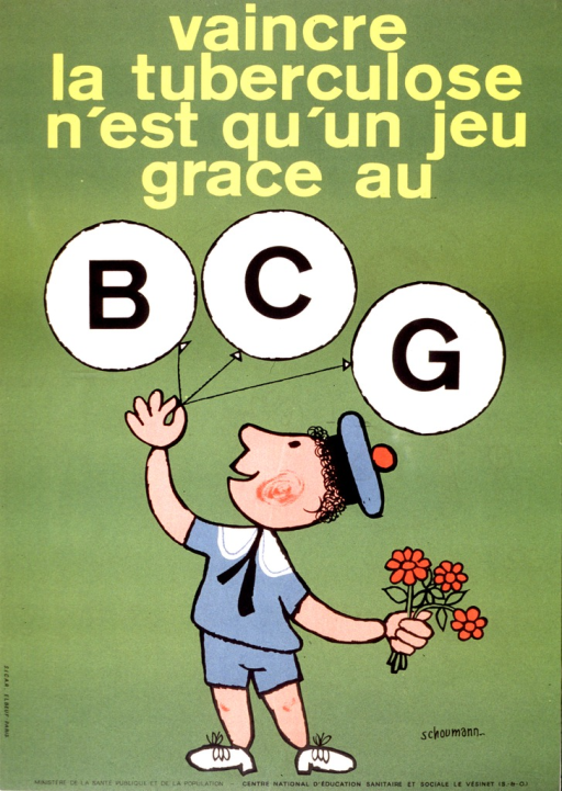 <p>Drawing of a child in a sailor outfit (shorts, shirt, and hat) holding some flowers in one hand and balloons with letters spelling BCG in the other hand.</p>
