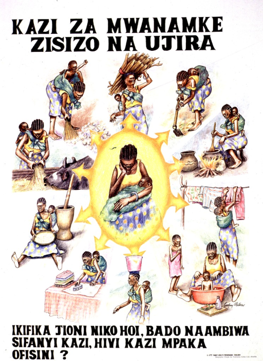 <p>White poster with black lettering.  Title at top of poster.  Title addresses the concepts of women's work, injustice, and wages.  Visual image is series of color illustrations.  The center features a woman holding her baby on her lap.  The woman hangs her head.  Surrounding the woman are illustrations of her many domestic and agricultural chores, which she performs while carrying her baby on her back.  Caption below illustrations may ask if office work leaves one destitute at day's end with still more work to do.  Publisher information in lower right corner.</p>