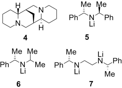 The diamine (-)-sparteine and three chiral lithium amide bases.