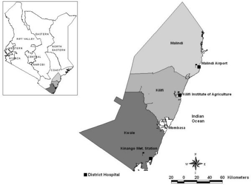Map showing the three study districts and the location of the metrological station in relation to the hospital facility. Inset is a map of Kenya showing location of three districts.