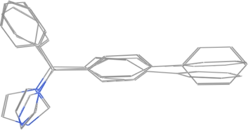 The molecular structure of selected template by superposing three bifonazole in three different conformations.