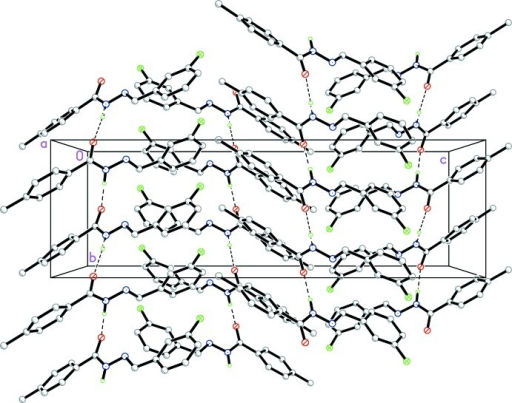 The molecular packing of the title compound, viewed along the a axis. Hydrogen bonds are shown as dashed lines. Hydrogen atoms not involved in hydrogen bonding have been omitted.