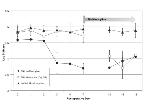 Minocycline administration prevents development of mechanical allodynia after peripheral nerve injury. Mechanical sensitivity was assessed by the von Frey test before, and 1, 3, 7, 13, 15, and 16 days after nerve injury. The 50% response threshold of the injured left hindpaw decreased to 3.86 ± 0.34 by 72 hours (squares). The response threshold of rats receiving daily intraperitoneal injections of minocycline did not change (4.90 ± 0.08, triangles) and was similar to the threshold of the uninjured rats (4.85 ± 0.16, triangles, red line). Minocycline administration was stopped after seven days; one week later, all injured rats demonstrated the same threshold. Averages and standard deviations of data collected from 3 – 6 animals at each time point are presented.