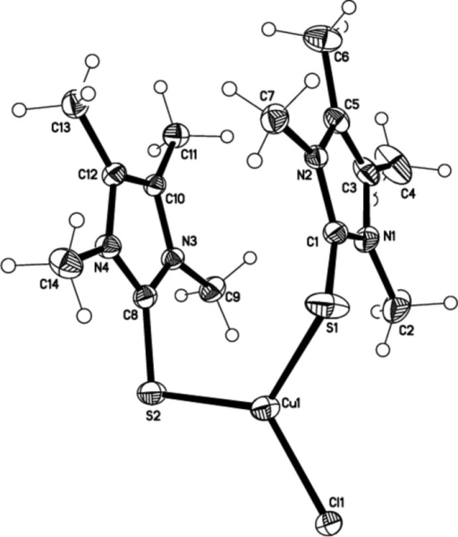 Molecular structure of the title compound with anisotropic displacement parameters drawn at the 50% probability level.
