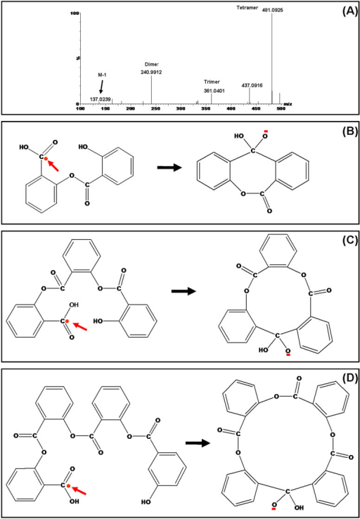 Mass spectrum of photo-catalytic polymerization of SA on surfaces of bismuth cobalt zinc oxide nanoparticles (A) and formation of negatively charged dimeric (B), trimeric (C) and tetrameric (D) ions.