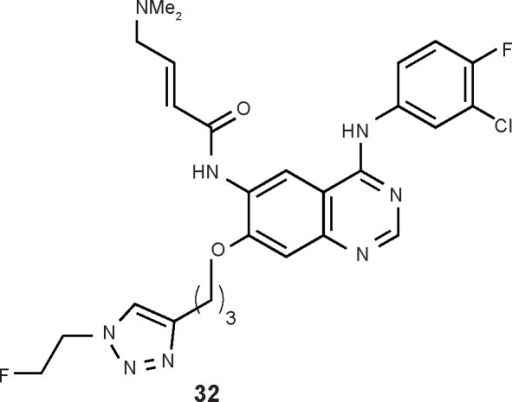 Chemical structures of protein tyrosine kinase inhibitors synthesized via click chemistry.