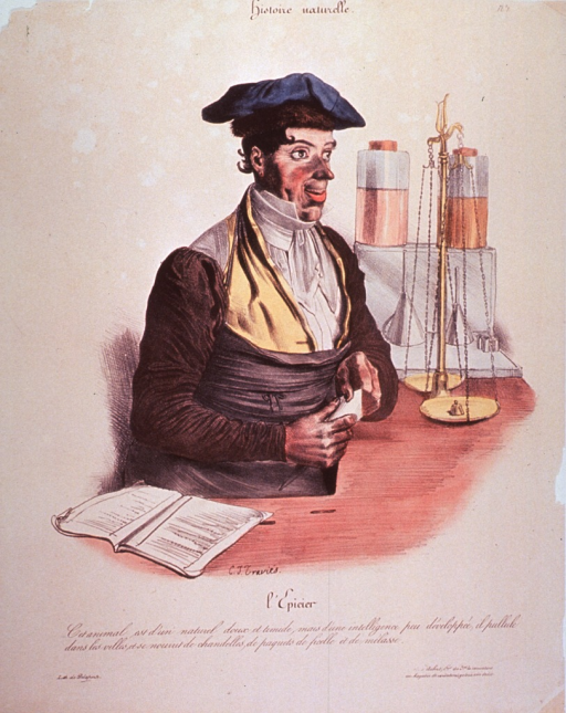 <p>A man wearing an apron and a cap; with an open account book in the foreground, measuring scales and two containers in the background.</p>