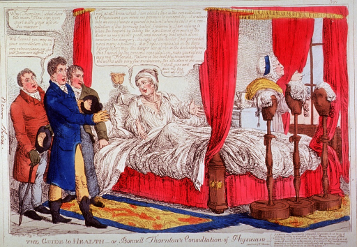 <p>Concerned physicians consulting at the bedside of a patient who claims that nature is the best of physicians.</p>