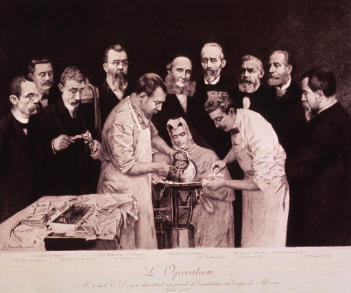 <p>Doyen performing craniectomy with aid of doctor and nurse while nine physicians observe.</p>