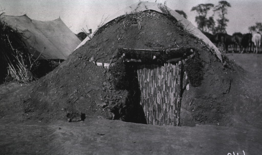 <p>A front view of a shelter tent at a Division Lazaret.</p>