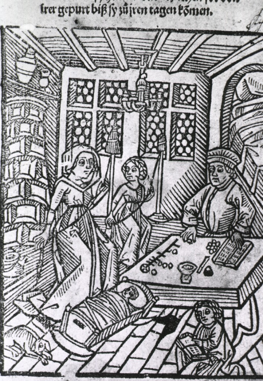<p>Interior view: a man is sitting at a table checking his accounts; a woman is teaching her daughter how to make items for use around the house; a young child is reading; an infant is in a cradle, and a dog is sleeping on the floor.</p>