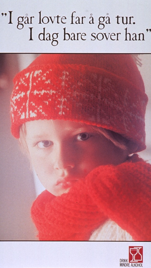 <p>White poster with black lettering.  Title at top of poster.  Visual image is a reproduction of a color photo showing a child with a somber face.  The child is dressed in a cap, scarf, and sweater, as if ready to go outdoors.  Note and logo in lower right corner.</p>